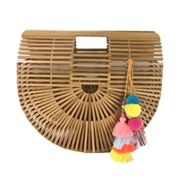 Blue Island Arc Large Bamboo Clutch Tassels,