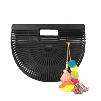 Blue Island Black Arc Bamboo Clutch Tassels