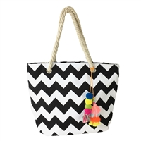 Blue Island Zig Zag Tassel Canvas Tote Beach Bag