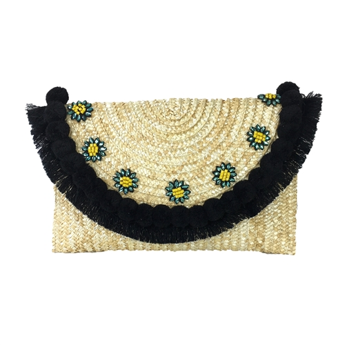 Blue Island Eliza Over-Sized Daisy Pom Pom Clutch