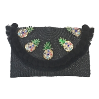 Blue Island Talia Over-Sized Pineapple Pom Pom Clutch