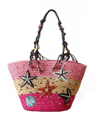 Blue Island Shore Rattan Beach Tote