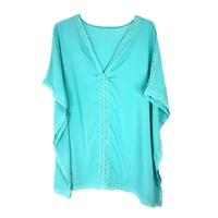 Lace Trim Caftan Swim Tunic Cover Up,