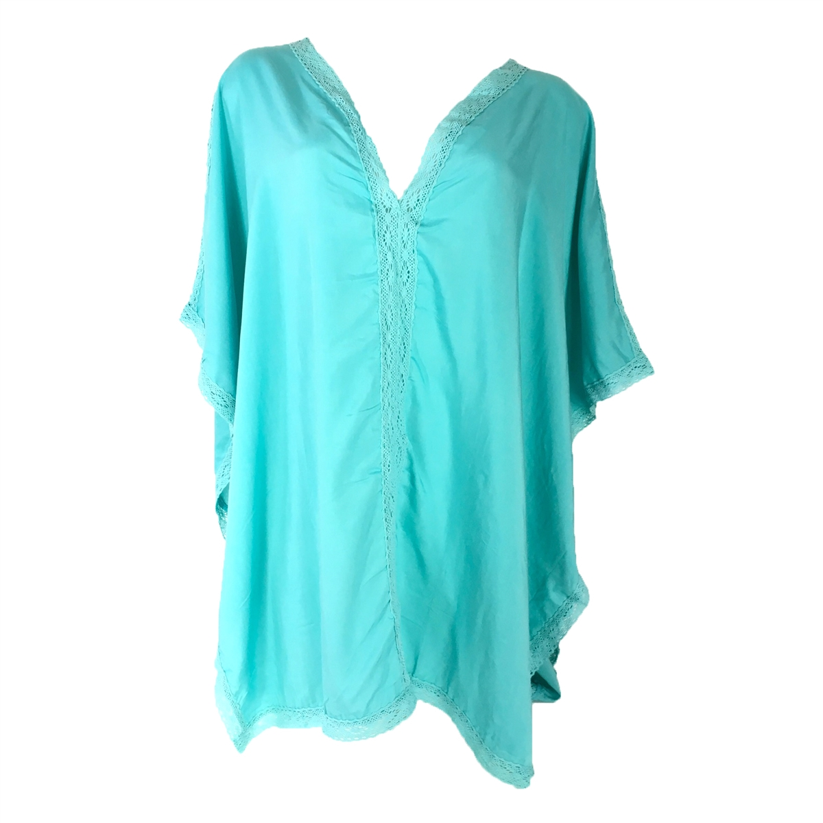 f5f5b4d678ed5 Blue Island Lace Trim Caftan Swim Tunic Cover Up