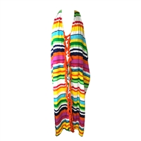Colorful Stripes Halter Maxi Swim Cover Up