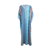 Colorful Sheer Maxi Caftan Swim Cover Up