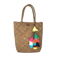 Blue Island Natural Straw Slim Tote w Colorful Tassels