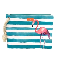 Flamingo Striped Swimwear Wristlet Ditty Bag
