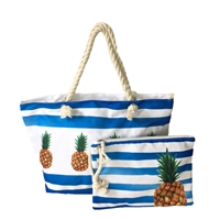 Pineapple Striped Beach Tote Wristlet Set