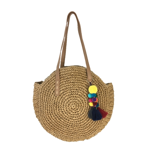 Blue Island Kau Woven Straw Circle Tote Bag Tassel