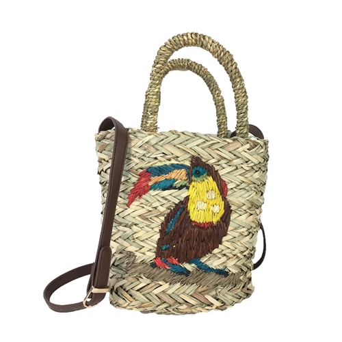 Blue Island Tiki Parrot Woven Straw Small Basket Bag