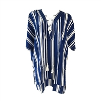 V-Neck Tie Front Striped Beach Tunic Swim Cover Up