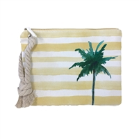 Palm Tree Striped Wristlet Swimwear Ditty Bag