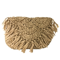Blue Island Ava Crochet Fringe Clutch Crossbody