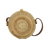 Blue Island Canteen Woven Rattan Straw Circle Crossbody