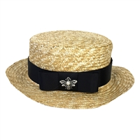 Blue Island Bee Charm Straw Boater Hat
