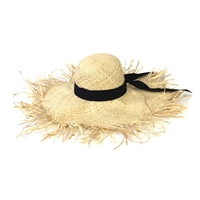 Blue Island Frayed Edge Wide Brim Straw Sun Hat