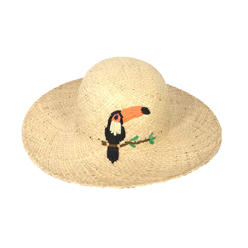 Toucan Embroidered Raffia Straw Sun Hat