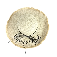 Blue Island Life is Good Embroidered Raffia Straw Sun Hat