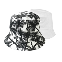 Blue Island Palm Tree Print Reversible Canvas Bucket Hat