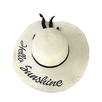 Blue Island Hello Sunshine Embroidered Straw Sun Hat