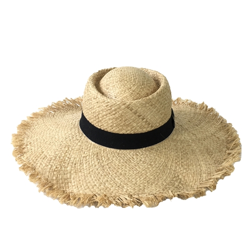 Blue Island Frayed Edge Wide Brim Straw Fedora Hat