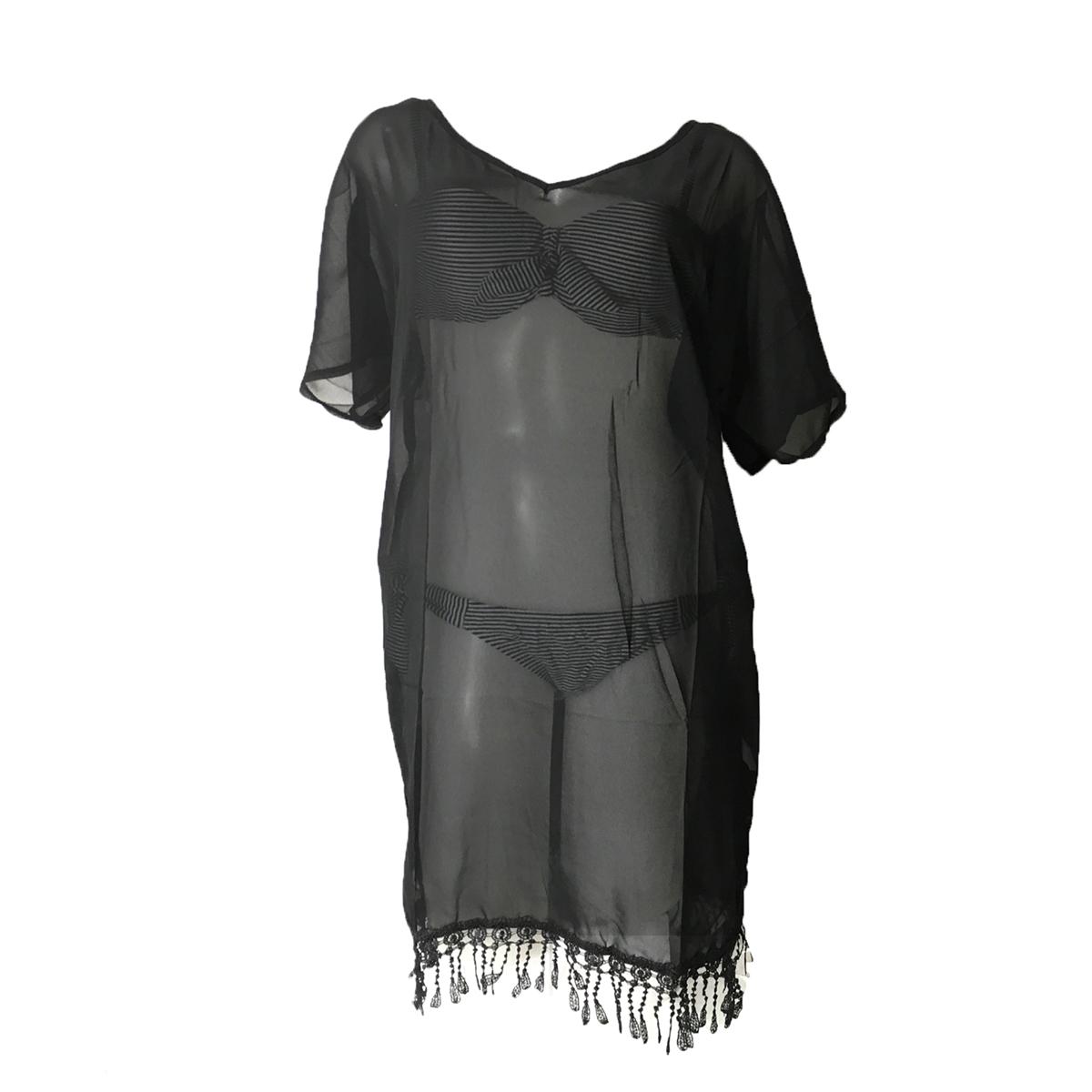 5c34b2523b Lace Fringe Trim Beach Tunic Swim Cover Up, Black