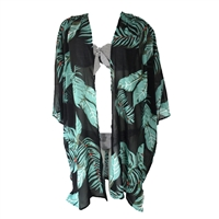 Blue Island Palm Print Kimono Swim Cover Up
