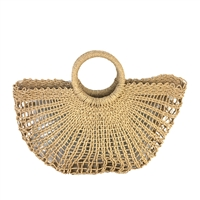 Blue Island Baika Open Weave Straw Rope Basket Tote Beach Bag