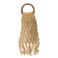 Netty Macrame Open Weave Small Tote Wooden Ring Handle,