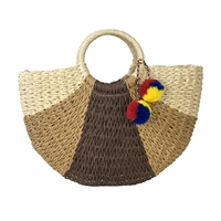 Blue Island Nairi Round Handle Color Block Straw Market Tote