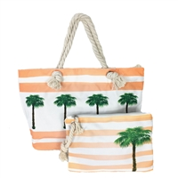 Palm Tree Striped Beach Tote Wristlet Set