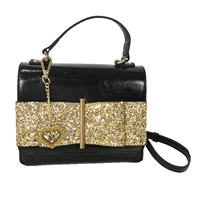 Betsey Johnson Oh My Bow Glitter Top Handle Crossbody Bag,