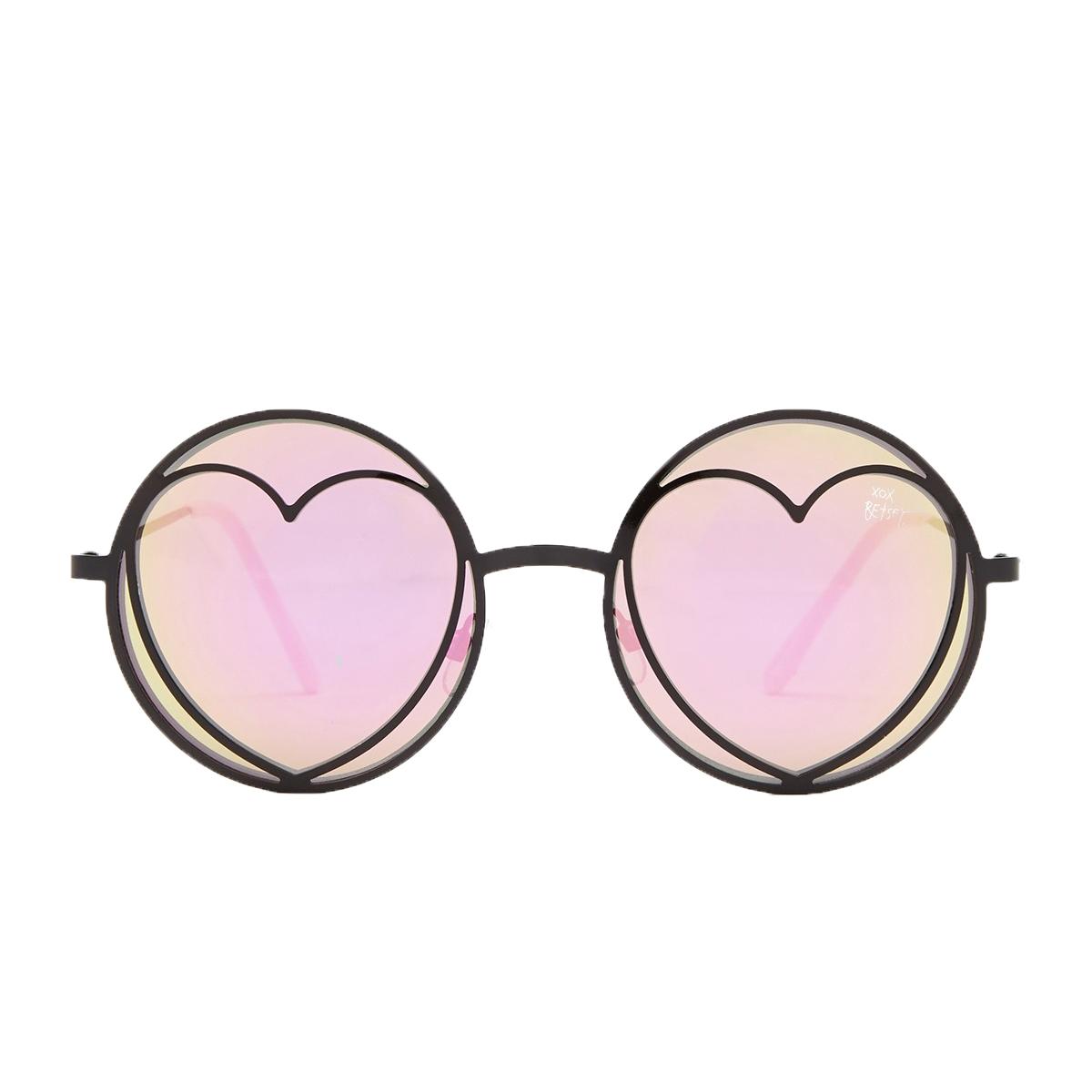 8a5a83b8e7 Betsey Johnson Funky Heart Lennon Round Sunglasses
