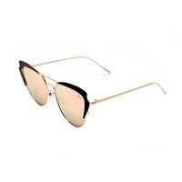 Betsey Johnson Metal Cat Eye Flat Mirrored Lens Sunglasses