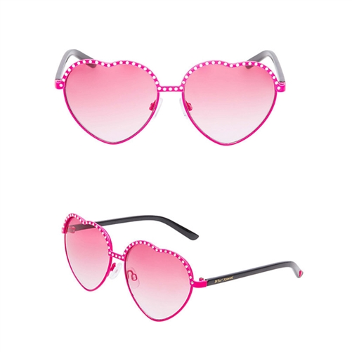 Betsey Johnson Rhinestone Topped Heart Sunglasses
