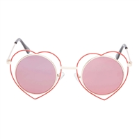 Betsey Johnson Heart Rimmed Round Sunglasses