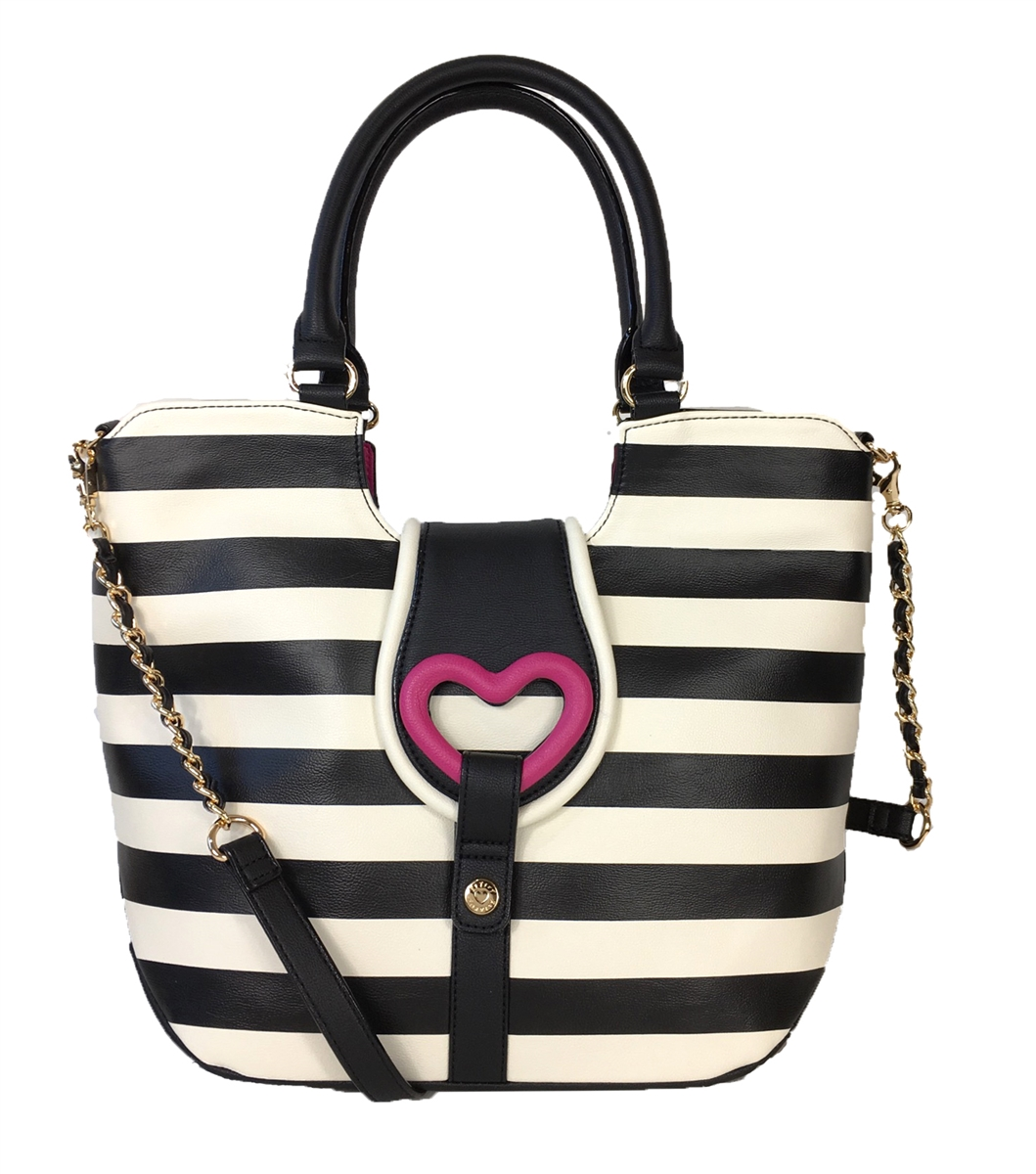 crossbody bag Betsey Johnson Black /& white stripe convertible clutch wallet