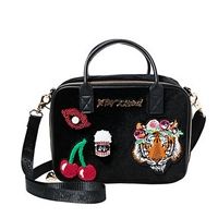 Betsey Johnson Eclectic Appliques Velvet Crossbody Lunch Tote,