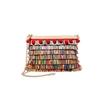 Betsey Johnson Tiki Time Colorful Fringe Raffia Clutch