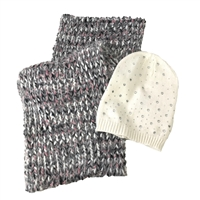 Betsey Johnson Beanie Hat & Scarf Set