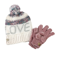 Betsey Johnson Womens Babe Beanie Hat /& Chenille Bow Glove Set