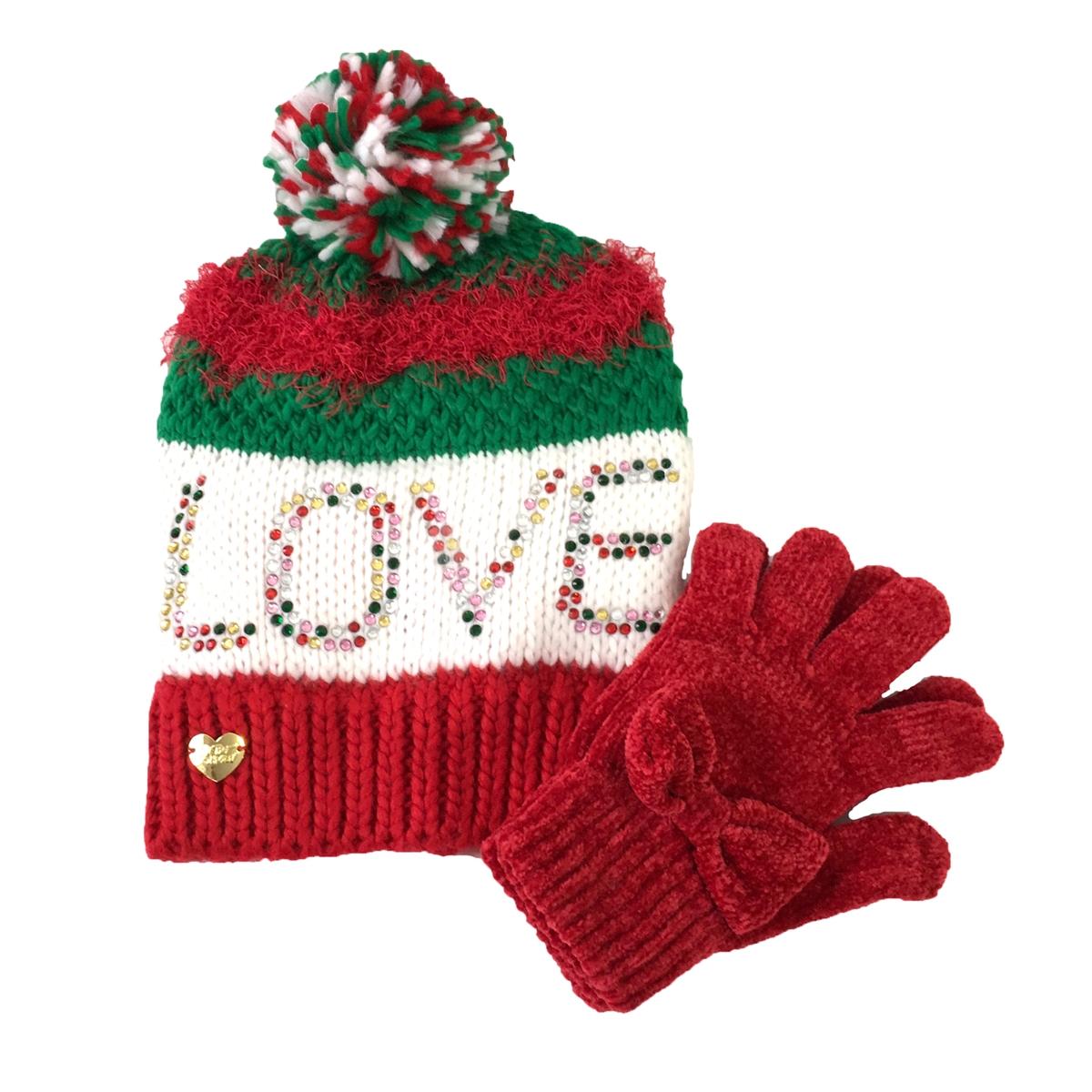 d3409bac9c5 Betsey Johnson Love Beanie Hat   Chenille Bow Glove Set
