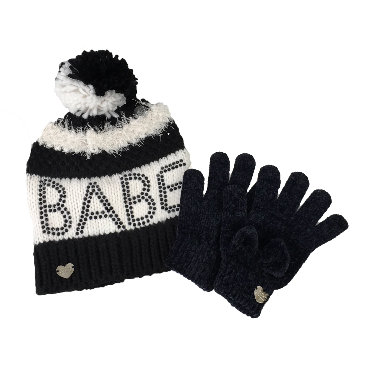 a73e2ee6a Betsey Johnson Babe Beanie Hat & Chenille Bow Glove Set, Black/White