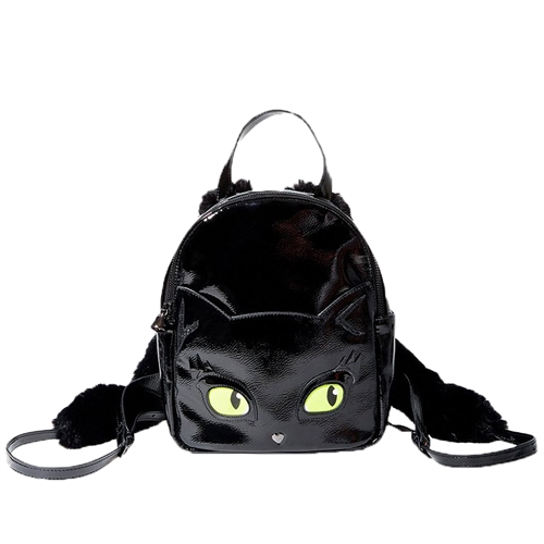 Betsey Johnson Meow In The Dark Glow Cat Eyes Day Backpack