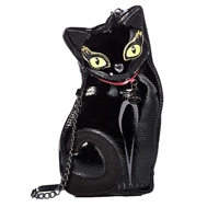 Betsey Johnson Clawsome Black Cat Glow In Dark Eyes Crossbody
