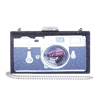 Betsey Johnson Lights Camera Crystal Minaudiere Box Clutch Crossbody Bag