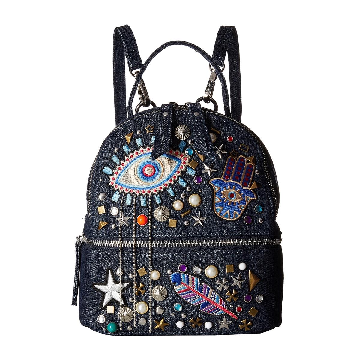Steve Madden B Tasha Stud Amp Patch Mini Backpack Denim