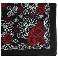 Red Rose Paisley Print Bandana Headband Scarf Face Covering