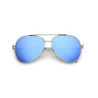Fame Mirrored Blue Flat Lens Aviator Sunglasses